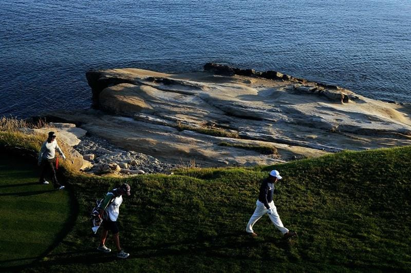 PEBBLE BEACH, CA - JUNE 19:  Phil Mickelson walks off the 18th tee during the third round of the 110th U.S. Open at Pebble Beach Golf Links on June 19, 2010 in Pebble Beach, California.  (Photo by Harry How/Getty Images)
