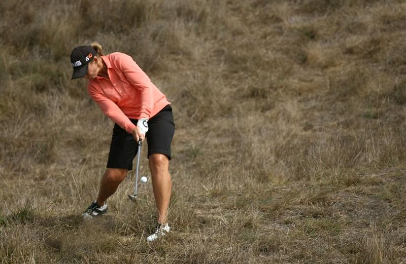 HALF MOON BAY, CA - OCTOBER 02:  Angela Stanford hits her second shot on the second hole during the first round of the Samsung World Championship at the Half Moon Bay Golf Links Ocean Course on October 2nd, 2008 in Half Moon Bay, California.  (Photo by Jonathan Ferrey/Getty Images)