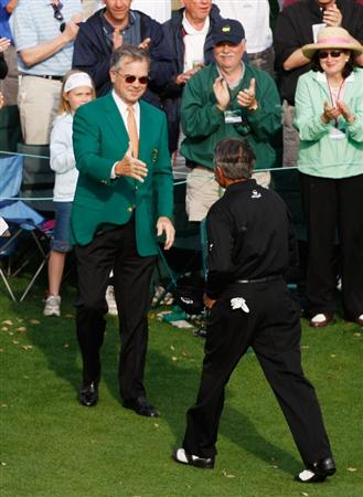 AUGUSTA, GA - APRIL 10:  Gary Player of South Africa walks to greet William Porter Payne after his final Masters Tournament at the 2009 Masters Tournament at Augusta National Golf Club on April 10, 2009 in Augusta, Georgia.  (Photo by Jamie Squire/Getty Images)