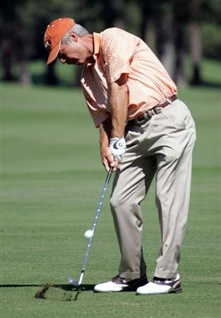 WOODLANDS, TX - OCTOBER 18:  Ben Crenshaw hits out of the fairway on the 6th hole during the second round of the Administaff Small Business Classic at the Woodlands Country Club on October 18, 2008 in Woodlands, Texas. (photo by Marc Serota/ Getty Images)