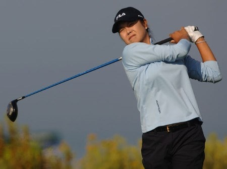 Hee-Won Han hits from the 13th tee during the final round of the 2005 Office Depot Championship at Trump National Golf Club Los Angeles in Rancho Palos Verdes, California, September 3, 2005Photo by Steve Grayson/WireImage.com