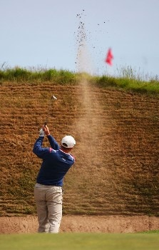CARNOUSTIE, UNITED KINGDOM - JULY 20:  Niclas Fasth of Sweden plays a bunker shot on the 14th hole during the second round of The 136th Open Championship at the Carnoustie Golf Club on July 20, 2007 in Carnoustie, Scotland.  (Photo by Andrew Redington/Getty Images)