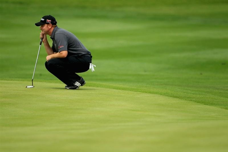 NEWPORT, WALES - JUNE 05:  Richard McEvoy of England lines up a putt on the third green during the third round of the Celtic Manor Wales Open on The Twenty Ten Course on June 5, 2010 in Newport, Wales.  (Photo by Warren Little/Getty Images)