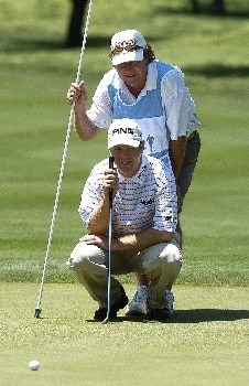 Ted Purdy  and caddie  lines up his birdie attempt on the 9th hole during the third  round of EDS Byron Nelson Championship on Saturday  May 14, 2005 at the Cottonwood Vally Course, Los Colinas, TexasPhoto by Marc Feldman/WireImage.com