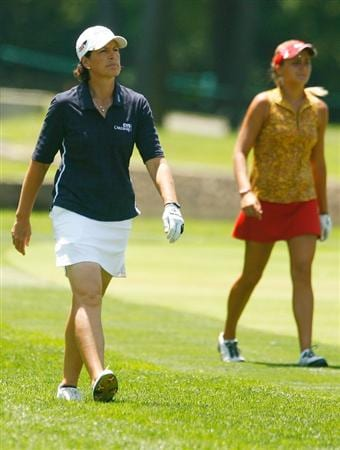 BETHLEHEM, PA - JULY 12:  Juli Inkster walks alongside Alexis Thompson on the 15th hole during the final round of the 2009 U.S. Women's Open at the Saucon Valley Country Club on July 12, 2009 in Bethlehem, Pennsylvania.  (Photo by Scott Halleran/Getty Images)