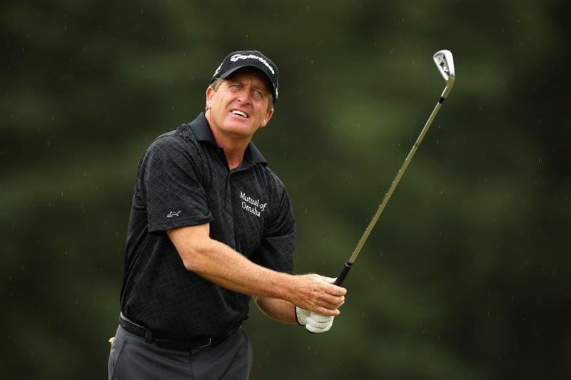 SUNNINGDALE, ENGLAND - JULY 26:  Fred Funk of the USA plays his second shot into the second green during the final round of The Senior Open Championship presented by MasterCard held on the Old Course at Sunningdale Golf Club on July 26, 2009 in Sunningdale, England.  (Photo by Warren Little/Getty Images)
