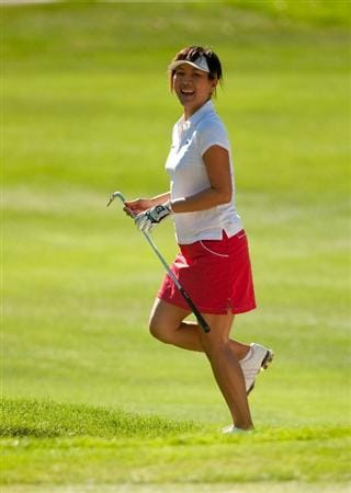 DANVILLE, CA - OCTOBER 15: Amy Hung of Taiwan reacts to a shot during the second round of the CVS/Pharmacy LPGA Challenge at Blackhawk Country Club on October 15, 2010 in Danville, California. (Photo by Darren Carroll/Getty Images)