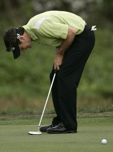 Mark Wilson reacts to a missed putt on the 15th hole during the final round of the Honda Classic on the Champion Course at PGA National in Palm Beach Gardens, Florida on Sunday, March 4, 2007. PGA TOUR - The 2007 Honda Classic - Final RoundPhoto by Sam Greenwood/WireImage.com