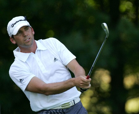 PARAMUS, NJ - AUGUST 21:  Sergio Garcia  of Spain hits a shot during the first round of The Barclays at Ridgewood Country Club on August 21, 2008 in Paramus New Jersey.  (Photo by Sam Greenwood/Getty Images)