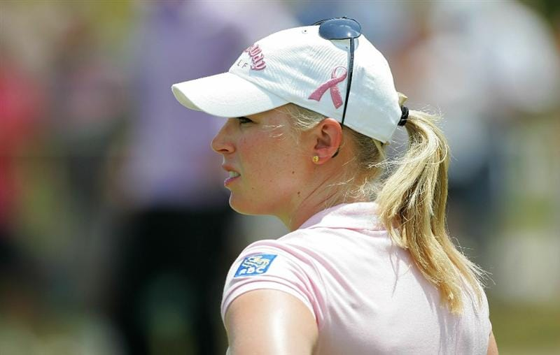 GALLOWAY, NJ - JUNE 19: Morgan Pressel waits to play a shot during the second round of the ShopRite LPGA Classic held at Dolce Seaview Resort (Bay Course) on June 19, 2010 in Galloway, New Jersey.  (Photo by Michael Cohen/Getty Images)