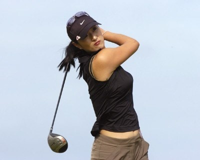 Grace Park tees off on the second hole in the first round  at the 2006 SBS Open at Turtle Bay February 16, 2006 in Kahuku, Hawaii.Photo by Al Messerschmidt/WireImage.com