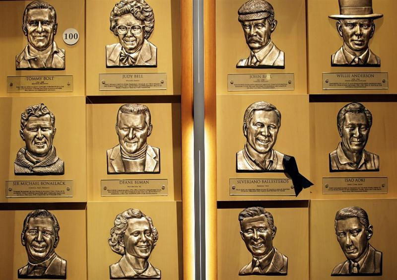 ST AUGUSTINE, FL - MAY 09:  The bust of  PGA Hall of Fame golfer Seve Ballesteros (ribbon) hangs at the World Golf Hall of Fame 2011 Induction Ceremony on May 9, 2011 in St Augustine, Florida.  (Photo by Marc Serota/Getty Images for the World Golf Hall of Fame)