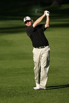 PEBBLE BEACH, CA - FEBRUARY 09:  Kent Jones hits his second shot on the eighth hole during the third round of the AT&T Pebble Beach National Pro-Am on February 9, 2008 at Spyglass Hill Golf Course in Pebble Beach. California.  (Photo by Stephen Dunn/Getty Images)
