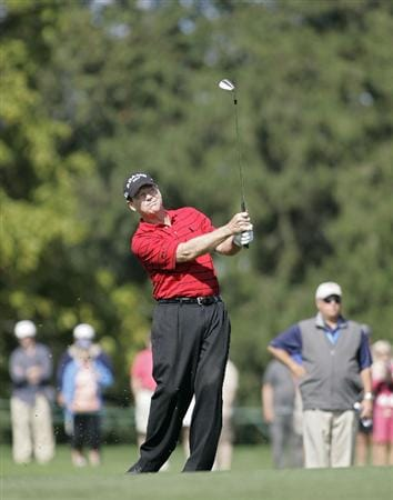 TIMONIUM, MD - OCTOBER 04: Tom Watson hits his second shot on the sixth hole during the final round of the Constellation Energy Senior Players Championship at Baltimore Country Club/Five Farms (East Course) held on October 4, 2009 in Timonium, Maryland (Photo by Michael Cohen/Getty Images)
