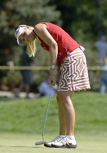 Carin Koch lines up a putt on the second green during the final round of the Safeway Classic at Columbia-Edgewater Country Club in Portland, Oregon on August 20, 2006.Photo by Al Messerschmidt/WireImage.com