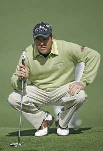 Rich Beem hits out of a bunker on the second hole during the first round of the 2007 Masters at the Augusta National Golf Club in Augusta, Georgia, on April 5, 2007. The 2007 Masters - First RoundPhoto by Mike Ehrmann/WireImage.com