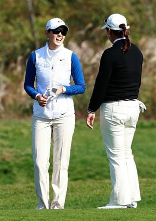INCHEON, SOUTH KOREA - OCTOBER 30:  Michelle Wie of United States and Lee Jee-Young of South Korea on the 12th hole during the 2010 LPGA Hana Bank Championship at Sky 72 Golf Club on October 30, 2010 in Incheon, South Korea.  (Photo by Chung Sung-Jun/Getty Images)