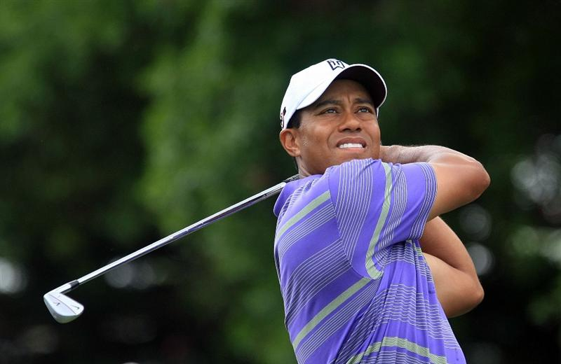 ORLANDO, FL - MARCH 28:  Tiger Woods watches his tee shot on the second hole during the third round of the Arnold Palmer Invitational at the Bay Hill Club & Lodge on March 28, 2009 in Orlando, Florida.  (Photo by Scott Halleran/Getty Images)