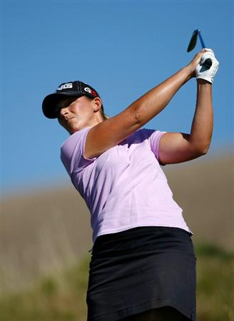 DANVILLE, CA - SEPTEMBER 24:  Angela Stanford tees off on the 16th hole during the first round of the CVS/pharmacy LPGA Challenge at Blackhawk Country Club on September 24, 2009 in Danville, California.  (Photo by Jonathan Ferrey/Getty Images)
