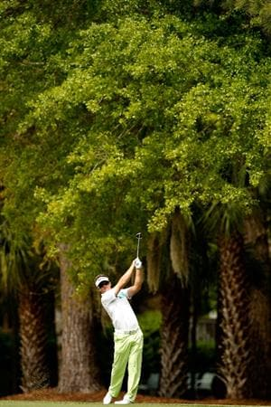 HILTON HEAD ISLAND, SC - APRIL 19:  Brian Gay watches his shot from the fairway on the 2nd hole during the final round of the Verizon Heritage at Harbour Town Golf Links on April 19, 2009 in Hilton Head Island, South Carolina.  (Photo by Streeter Lecka/Getty Images)