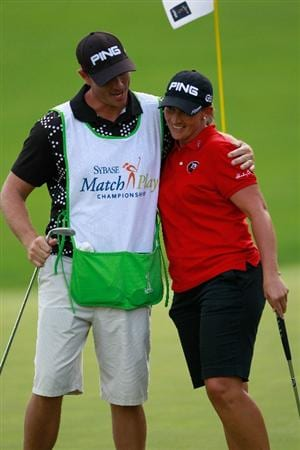 GLADSTONE, NJ - MAY 21:  Angela Stanford is congratulated by her caddie following her victory over Paula Creamer in round four of the Sybase Match Play Championship at Hamilton Farm Golf Club on May 21, 2011 in Gladstone, New Jersey.  (Photo by Chris Trotman/Getty Images)