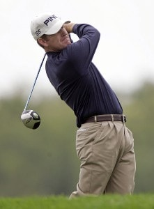 Jeff Maggert hits his tee shot on the 16th hole during the first round of the 84 Lumber Classic at Nemacolin Woodlands Resort in Farmington, Pennsylvania on Thursday, September, 14th, 2006.Photo by Hunter Martin/WireImage.com