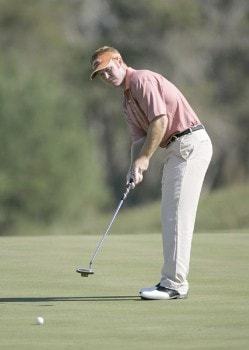 Bubba Dickerson putts for birdie on the 6th hole during the first round of the Nationwide Tour Championship held on the Senator course at Capitol Hill GC in Prattville, Alabama on Thursday, October 27, 2005.Photo by Sam Greenwood/WireImage.com