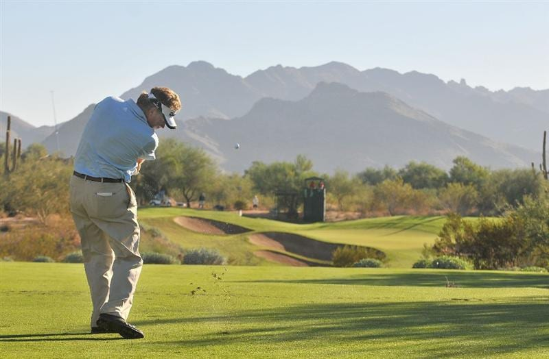 SCOTTSDALE, AZ - OCTOBER 24: Mathias Gronberg hits his tee shot on the par three 8th  hole during the second round of  the Fry's.Com Open held at Grayhawk Golf Club on October 24, 2008 in Scottsdale, Arizona.(Photo by Marc Feldman/Getty Images)