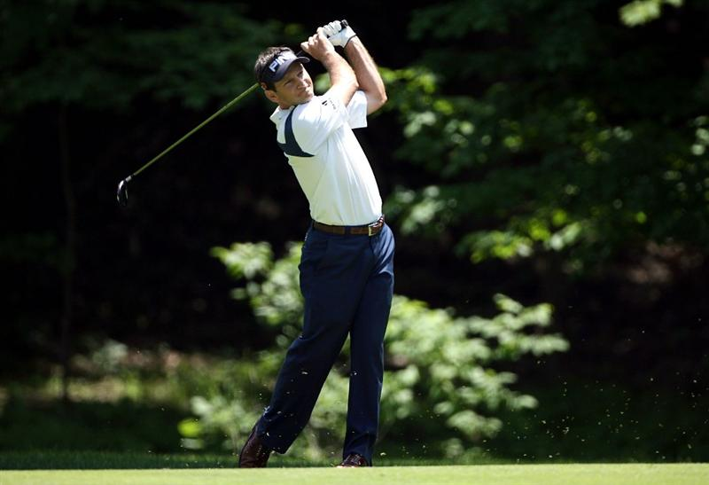 DUBLIN, OH - JUNE 05:  Mark Wilson hits his second shot on the 15th hole during the second round of the Memorial Tournament on June 5, 2009 at the Muirfield Village Golf Club in Dublin, Ohio.  (Photo by Andy Lyons/Getty Images)