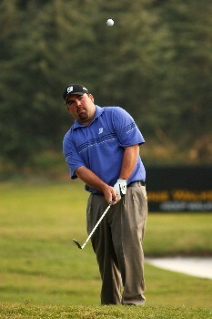 SHANGHAI, CHINA - NOVEMBER 10:  Kevin Stadler of USA plays a chip shot during Day 3 of the HSBC Champions at the Sheshan Golf Club on November 10, 2007 in Shanghai, China.  (Photo by Ross Kinnaird/Getty Images)