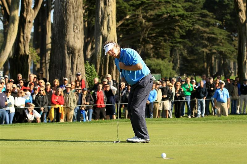 SAN FRANCISCO - NOVEMBER 06:  Michael Allen makes a birdie putt on the 16th hole during round 3 of the Charles Schwab Cup Championship at Harding Park Golf Course on November 6, 2010 in San Francisco, California.  (Photo by Ezra Shaw/Getty Images)