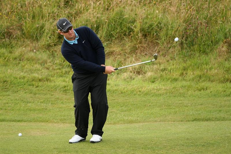 TURNBERRY, SCOTLAND - JULY 14:   David Duval of USA chips during a practice round prior to the 138th Open Championship on the Ailsa Course, Turnberry Golf Club on July 14, 2009 in Turnberry, Scotland.  (Photo by Andrew Redington/Getty Images)