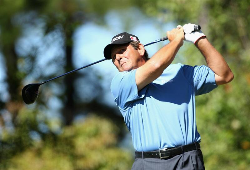 CONOVER, NC - OCTOBER 02:  Fulton Allem of South Africa hits a tee shot on the fouth hole during the second round of the Ensure Classic at the Rock Barn Golf & Spa on October 2, 2010 in Conover, North Carolina.  (Photo by Christian Petersen/Getty Images)