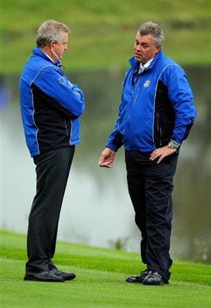 NEWPORT, WALES - SEPTEMBER 28:  Europe Team Captain Colin Montgomerie chats with Assistant Darren Clarke (R) during a practice round prior to the 2010 Ryder Cup at the Celtic Manor Resort on September 28, 2010 in Newport, Wales.  (Photo by Sam Greenwood/Getty Images)