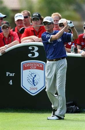 ORLANDO, FL - MARCH 17:  Mark McNulty of Ireland and the Lake Nona Team hits on the third hole during the second day of the 2009 Tavistock Cup at the Lake Nona Golf and Country Club, on March 17, 2009 in Orlando, Florida  (Photo by David Cannon/Getty Images)