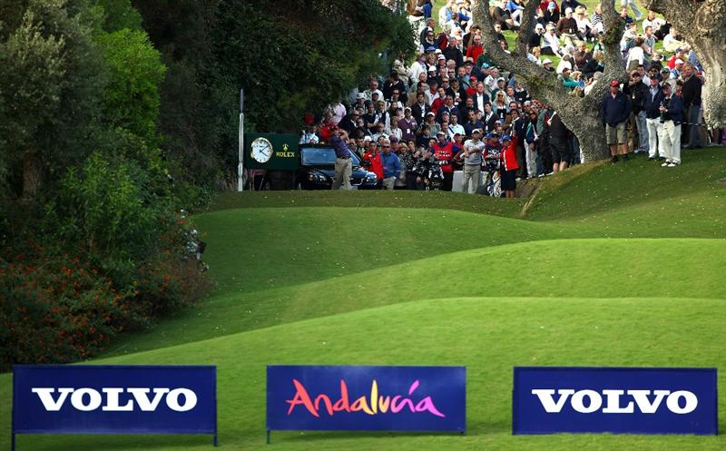 SOTOGRANDE, SPAIN - OCTOBER 30:  Sergio Garcia of Spain hits his tee-shot on the 18th hole during the first round of the Volvo Masters at Valderrama Golf Club on October 30, 2008 in Sotogrande, Spain.  (Photo by Andrew Redington/Getty Images)