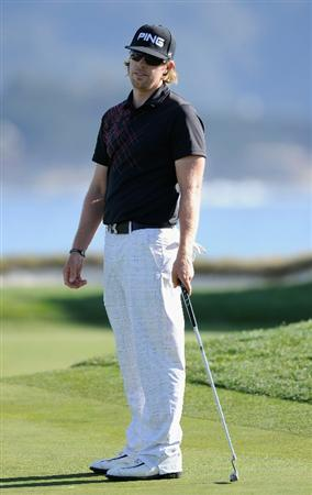 PEBBLE BEACH, CA - FEBRUARY 11:  Hunter Mahan reacts to his putt on the 17th hole during the second round of the AT&T Pebble Beach National Pro-Am at the Pebble Beach Golf Links on February 11, 2011  in Pebble Beach, California  (Photo by Stuart Franklin/Getty Images)