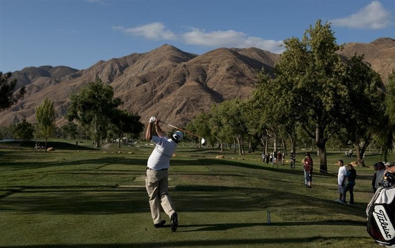 SAN JACINTO, CA - OCTOBER 04: Jerod Turner makes a tee shot on the 17th hole during the final round of the 2009 Soboba Classic at The Country Club at Soboba Springs on October 4, 2009 in San Jacinto, California. (Photo by Robert Laberge/Getty Images)