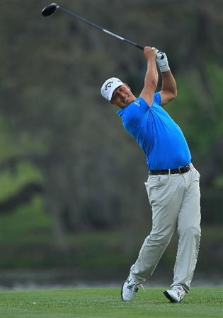 ORLANDO, FL - MARCH 24:  Fredrik Jacobson of Sweden plays his tee shot at the par 5, 16th hole during the first round of the 2011 Arnold Palmer Invitational presented by Mastercard at the Bay Hill Lodge and Country Club on March 24, 2011 in Orlando, Florida.  (Photo by David Cannon/Getty Images)