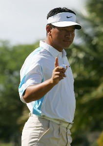 K.J. Choi of South Korea acknowledges the gallery after making a putt for par on the second hole during the final round of the Sony Open at the Waialae Country Club on January 13, 2008 in Honolulu, Oahu, Hawaii. PGA TOUR - 2008 Sony Open in Hawaii - Final RoundPhoto by Jeff Gross/WireImage.com