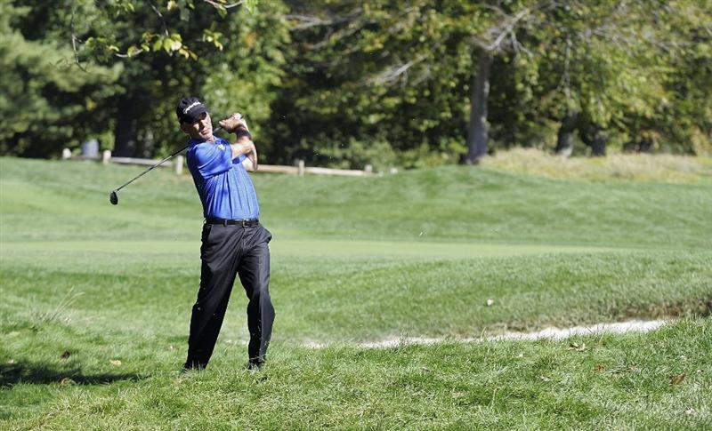POTOMAC, MD - OCTOBER 08:  Corey Pavin hits his second shot on the seventh hole from the rough during the second round of the Constellation Energy Senior Players Championship held at TPC Potomac at Avenel Farm on October 8, 2010 in Potomac, Maryland.  (Photo by Michael Cohen/Getty Images)