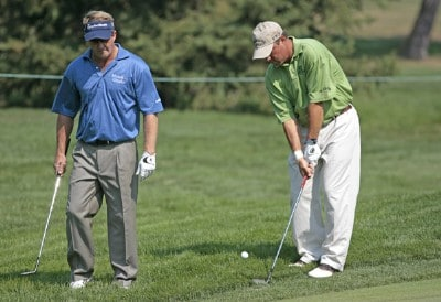 Fred Funk and Olin Browne during practice for the 2006 WGC-Bridgestone Invitational held on the South Course at Firestone Country Club in Akron, Ohio, on August 23, 2006.Photo by Chris Condon/PGA TOUR/WireImage.com