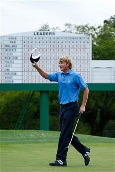 AUGUSTA, GA - APRIL 12:  Brandt Snedeker celebrates a birdie putt on the 18th green during the third round of the 2008 Masters Tournament at Augusta National Golf Club on April 12, 2008 in Augusta, Georgia.  (Photo by Jamie Squire/Getty Images)