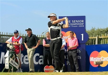 TROON, UNITED KINGDOM - JULY 27: Bernhard Langer of Germany drives from the 1st tee during the final round of the Senior Open Championship at Royal Troon on July 27, 2008 in Troon, Scotland  (Photo by Phil Inglis/Getty Images)