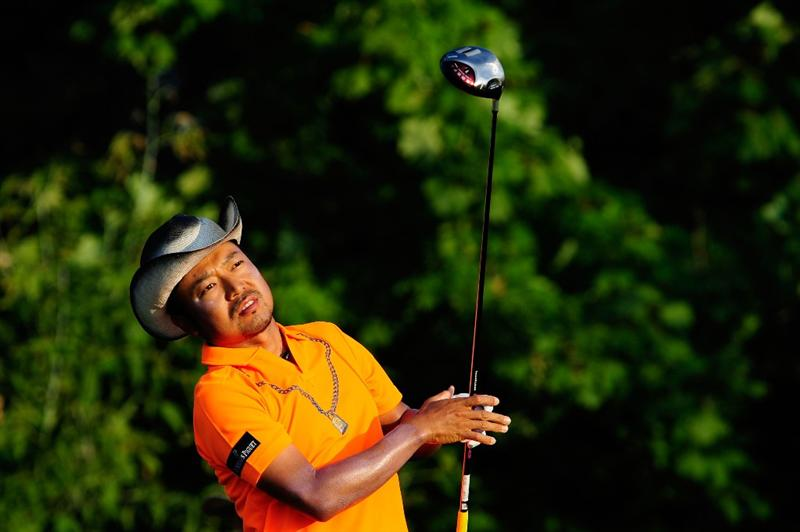CHASKA, MN - AUGUST 13:  Shingo Katayama of Japan watches his tee shot on the tenth hole during the first round of the 91st PGA Championship at Hazeltine National Golf Club on August 13, 2009 in Chaska, Minnesota.  (Photo by Sam Greenwood/Getty Images)