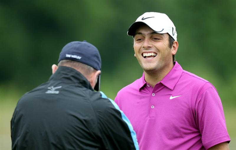 NEWPORT, WALES - JUNE 01:  Francesco Molinari of Italy shares a joke with his coach Dennis Pugh during a practice session prior to the Celtic Manor Wales Open on the 2010 Course at the Celtic Manor Resort on June 1, 2010 in Newport, Wales.  (Photo by Ross Kinnaird/Getty Images)