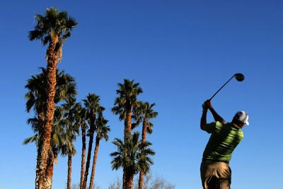 D. J. Trahan watches his tee shot on the sixth hole during the fourth round of the 49th Bob Hope Chrysler Classic at the PGA West Arnold Palmer Private Course on January 19, 2008 in La Quinta, California. PGA TOUR - 2008 Bob Hope Chrysler Classic - Round FourPhoto by Harry How/Getty Images