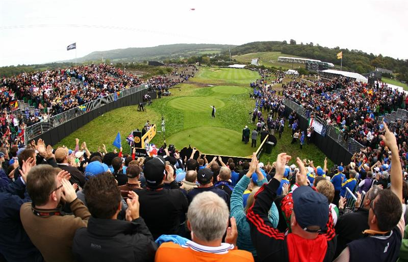 NEWPORT, WALES - OCTOBER 02:  Europe Vice Captain Sergio Garcia encourages the crowd during the rescheduled Afternoon Foursome Matches during the 2010 Ryder Cup at the Celtic Manor Resort on October 2, 2010 in Newport, Wales. (Photo by Richard Heathcote/Getty Images)