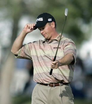 Ted Purdy reacts as his putt falls on the 18th hole during the final round of the 2005 Michelin Championship at Las  Vegas Sunday, Oct. 16, 2005, at the The Players Club at Summerlin in Las Vegas, Nevada.Photo by Grant Halverson/WireImage.com