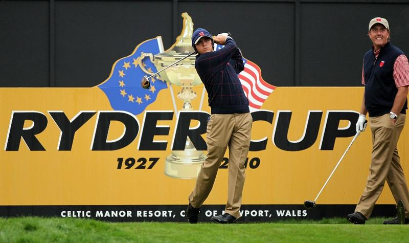 NEWPORT, WALES - SEPTEMBER 30:  Rickie Fowler of the USA tees off during a practice round prior to the 2010 Ryder Cup at the Celtic Manor Resort on September 30, 2010 in Newport, Wales.  (Photo by Andy Lyons/Getty Images)